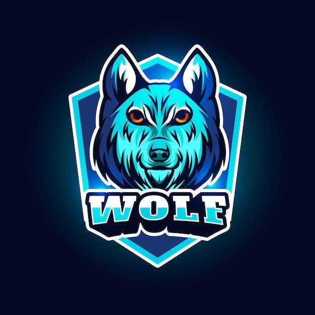 Logo design mascotte con lupo Vettore gratuito