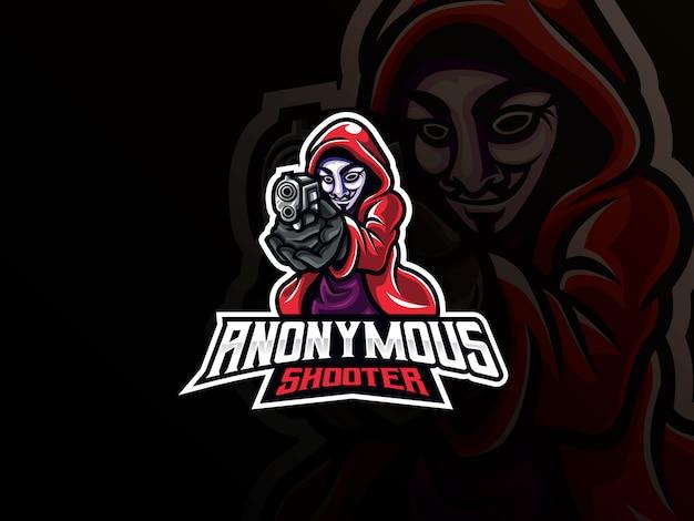 Logo design mascotte sport anonimo Vettore Premium