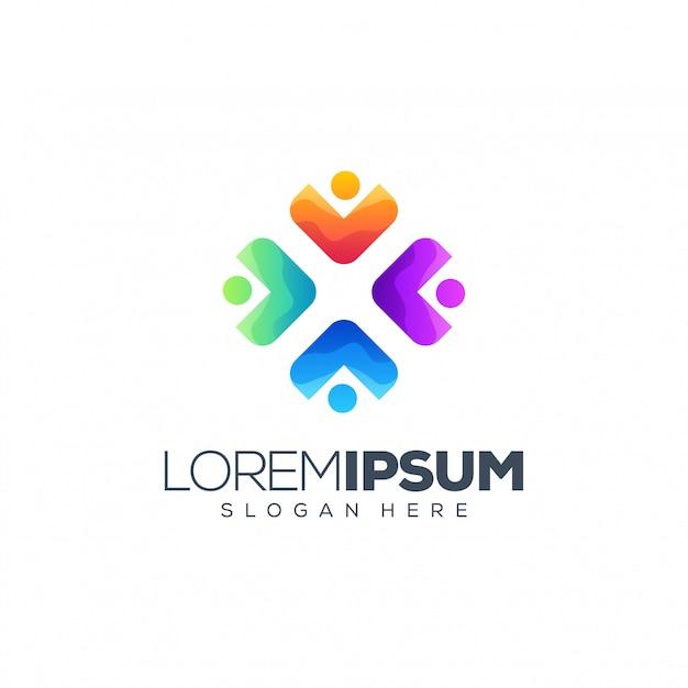 Logo design persone Vettore Premium