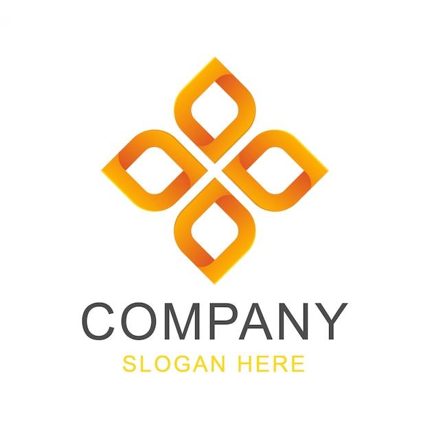 Logo design quadrato fiore Vettore Premium