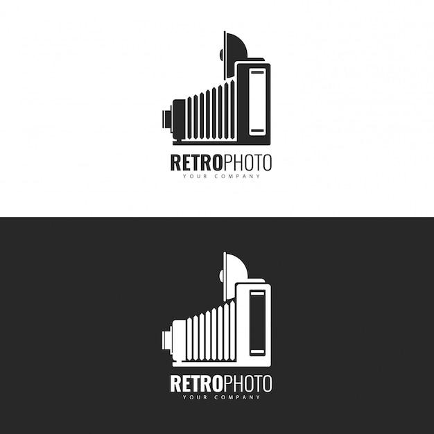 Logo design retrò photo studio. Vettore Premium