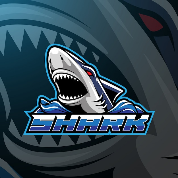 Logo design squalo sport mascotte Vettore Premium