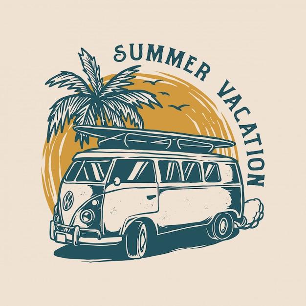Logo design vintage estivo Vettore Premium