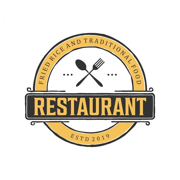 Logo design vintage per ristorante Vettore Premium