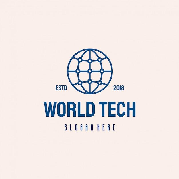 Logo design world tech, simbolo del modello logo globe technology Vettore Premium