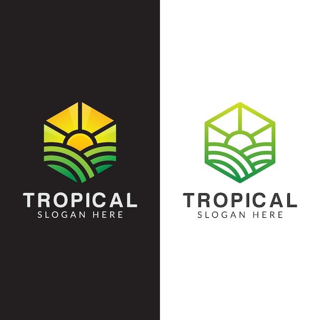 Logo di agricoltura, logo di pianta tropicale impostato con stile art linea Vettore Premium