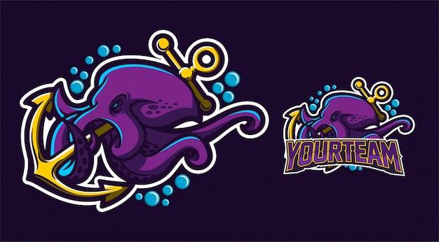 Logo di ancoraggio della tenuta del polipo Vettore Premium