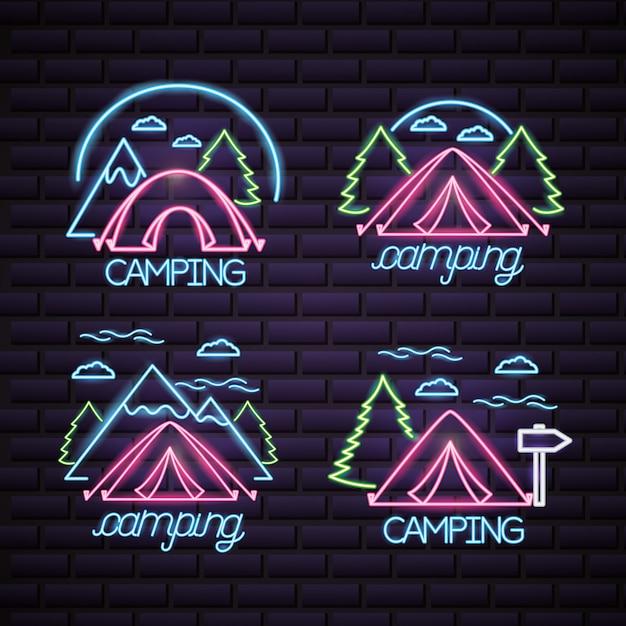 Logo di campeggio in stile neon Vettore gratuito