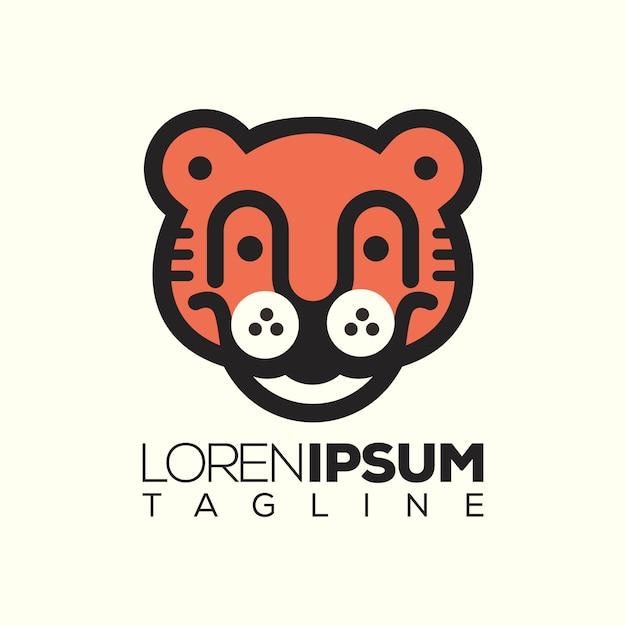 Logo di carattere tigre Vettore Premium
