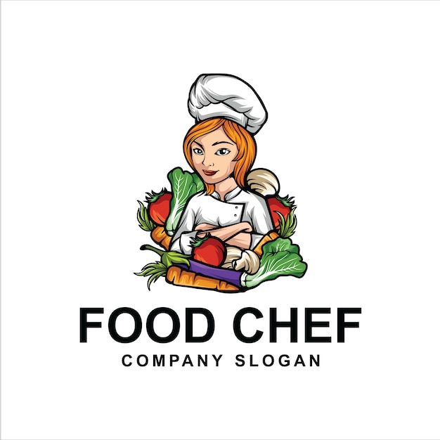Logo di chef di cibo Vettore Premium