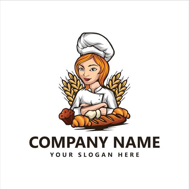 Logo di chef di panetteria Vettore Premium