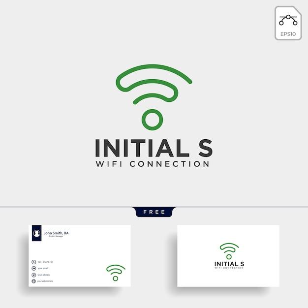 Logo di comunicazione wifi s iniziale Vettore Premium