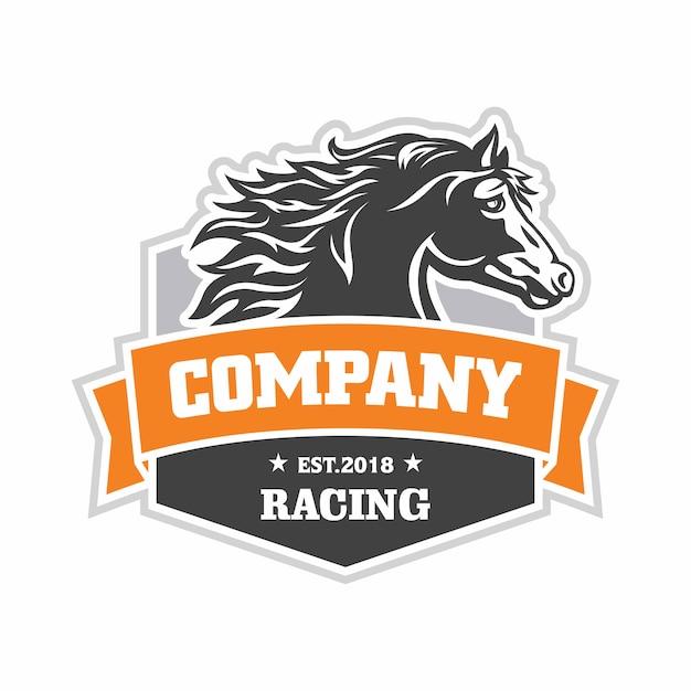 Logo di corse di cavalli Vettore Premium