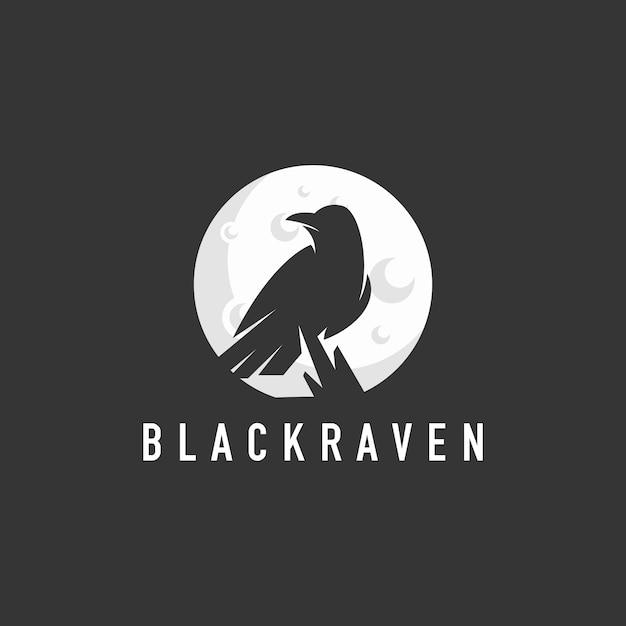Logo di corvo sagoma Vettore Premium