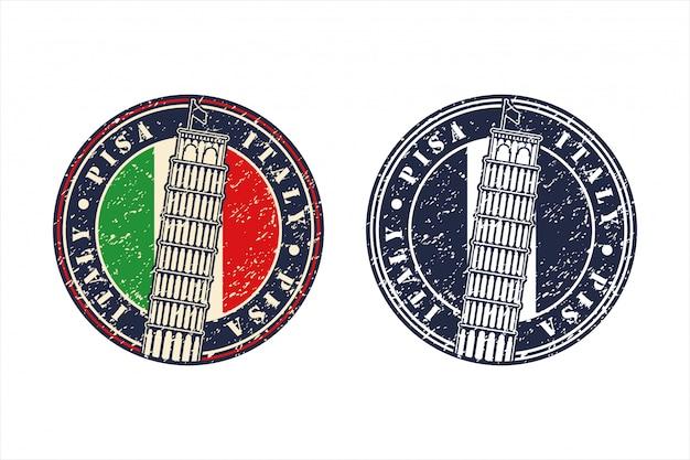 Logo di design della torre di pisa italia Vettore Premium