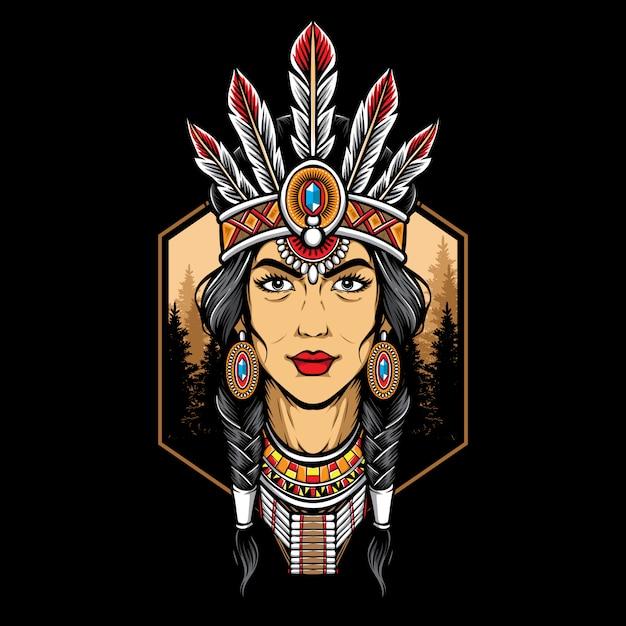 Logo di donna nativa americana Vettore Premium
