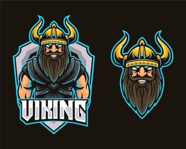 Logo di esports da gioco per muscoli della testa vichinga Vettore Premium