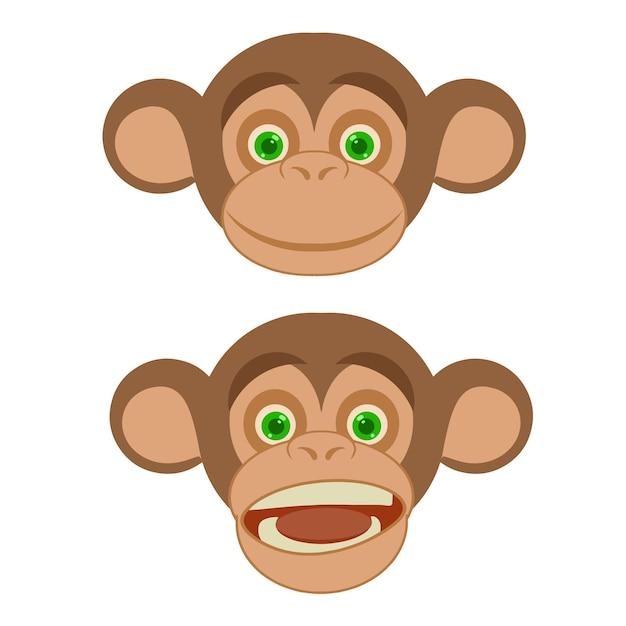 Logo di faccia di sorriso di scimmia simpatico cartone animato