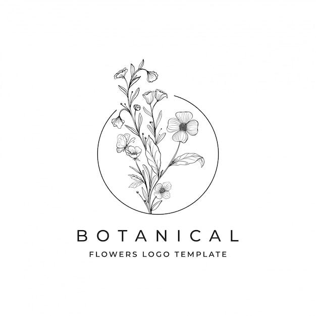 Logo di fiori botanici Vettore Premium
