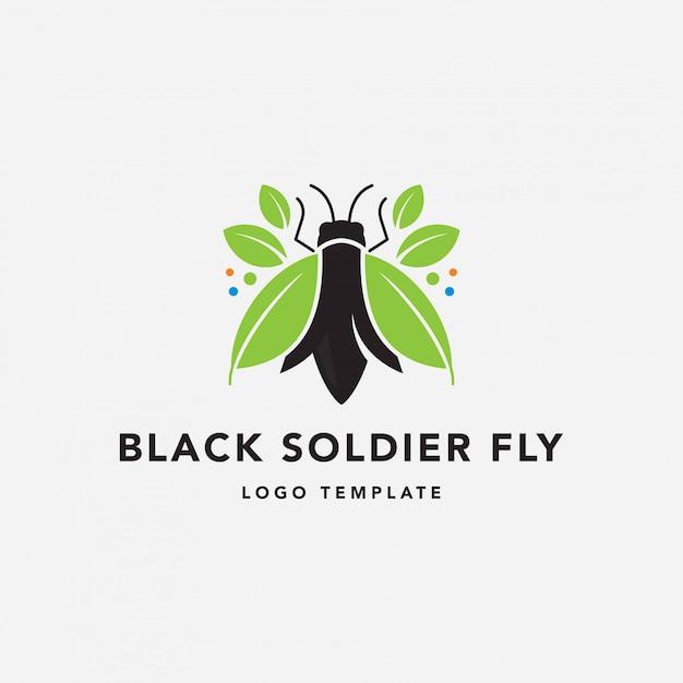 Logo di fly farm soldato nero Vettore Premium