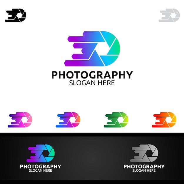 Logo di fotografia autovelox Vettore Premium