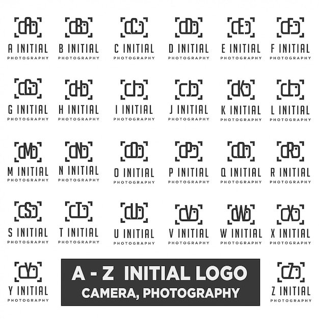 Logo di fotografia con la progettazione di vettore della raccolta della lettera Vettore Premium