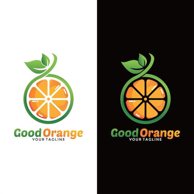 Logo di frutta arancione fresca Vettore Premium