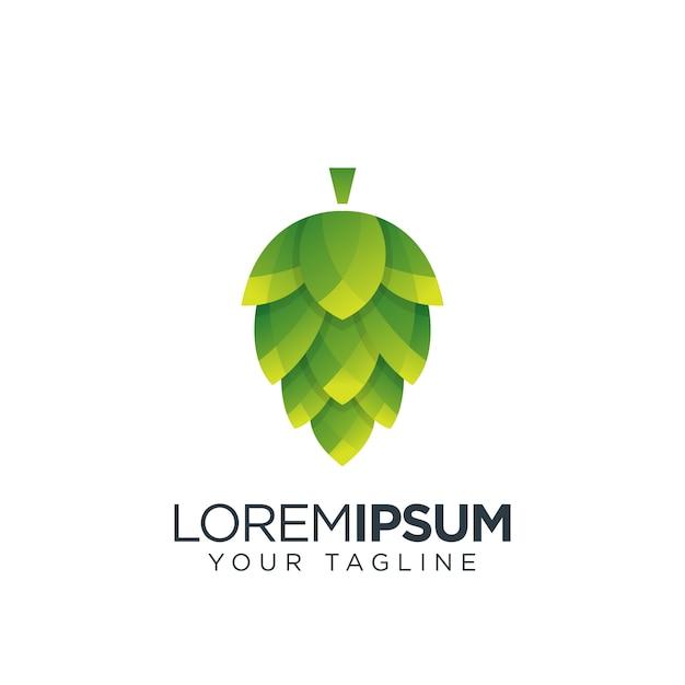 Logo di frutta luppolo Vettore Premium
