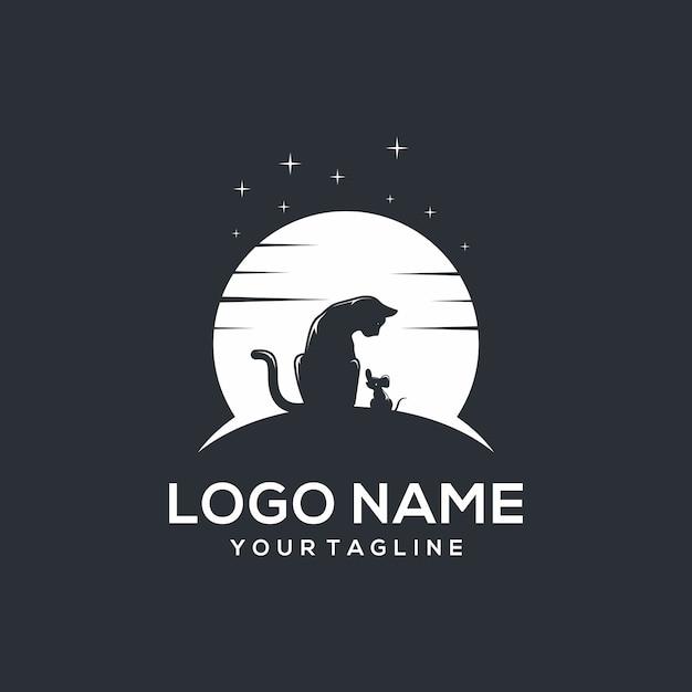 Logo di gatto e topo Vettore Premium