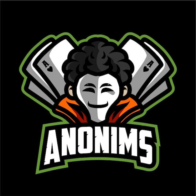 Logo di gioco della mascotte di anonims Vettore Premium