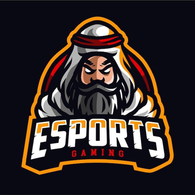 Logo di gioco di sultan esport Vettore Premium