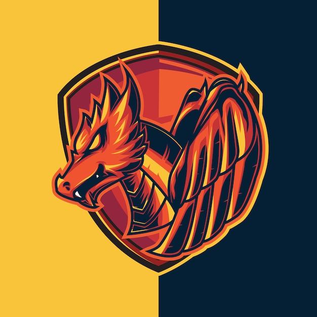 Logo di gioco esport con temi drago rosso e scudo. rosso chiaro come il fuoco Vettore Premium