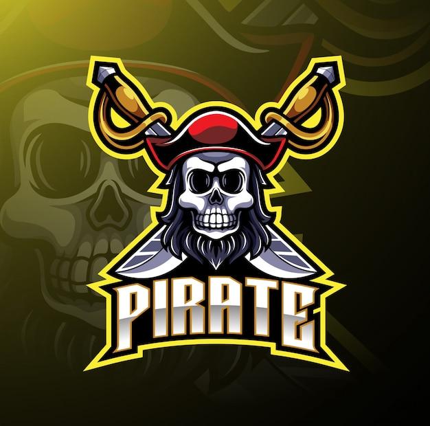 Logo di gioco mascotte dei pirati Vettore Premium