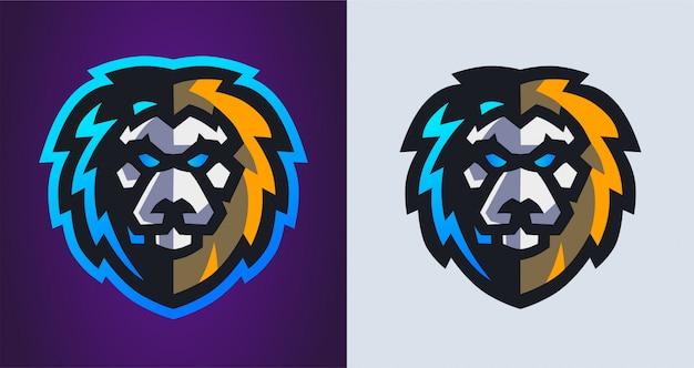 Logo di gioco mascotte testa di leone Vettore Premium