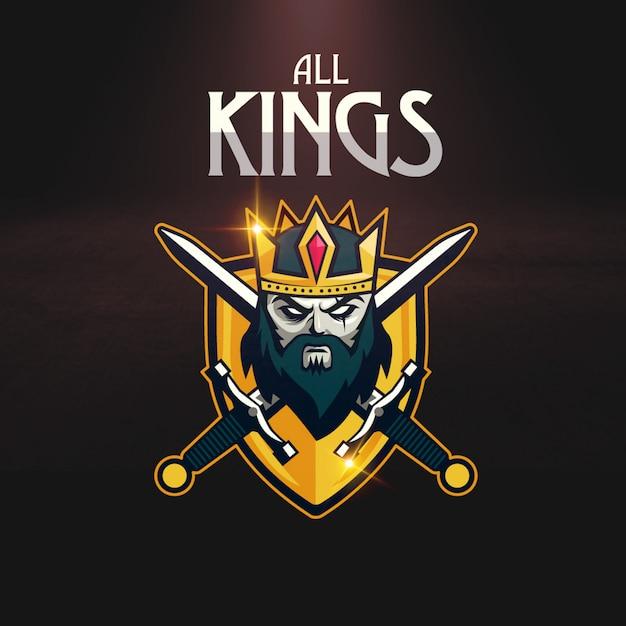 Logo di gioco sport crown sword shield Vettore Premium