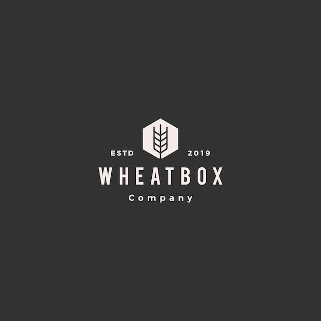 Logo di grano casella farmer Vettore Premium