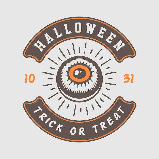 Logo di halloween, emblema Vettore Premium