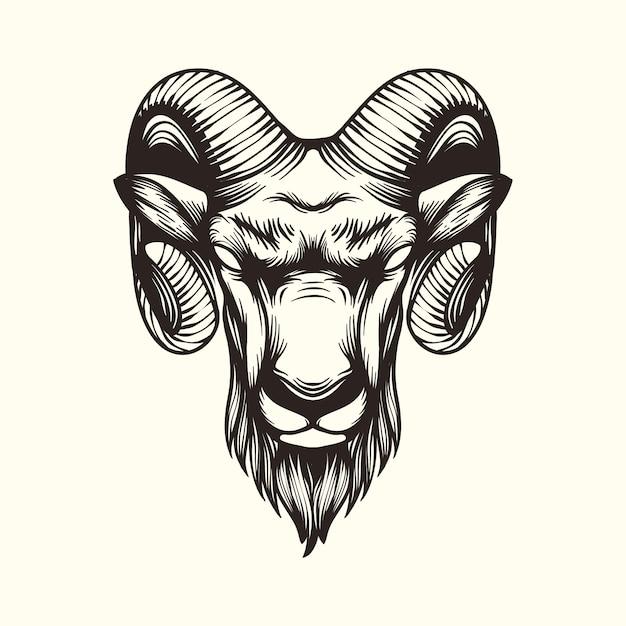 Logo di illustrazione di capra Vettore Premium