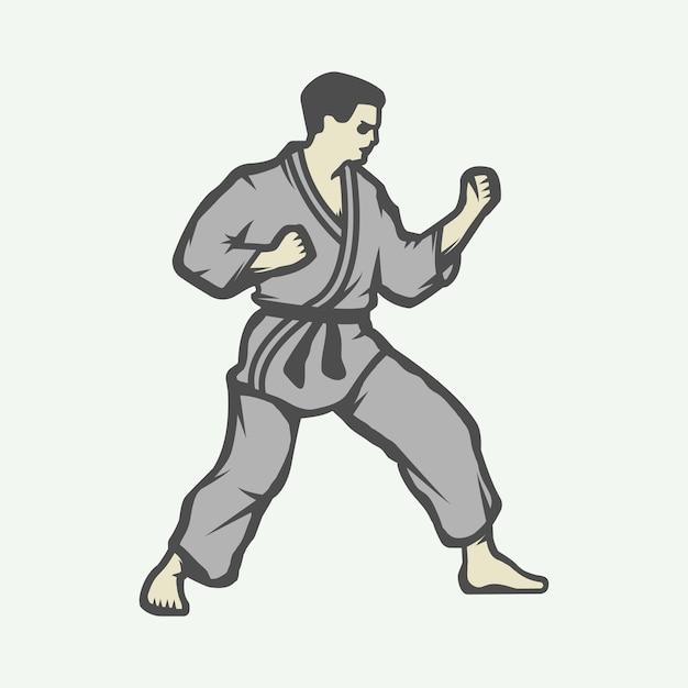 Logo di karate Vettore Premium