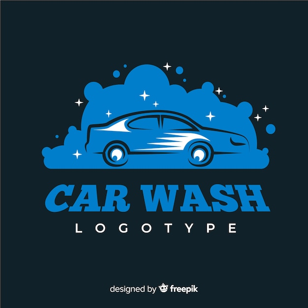 Logo di lavaggio auto blu piatto Vettore gratuito