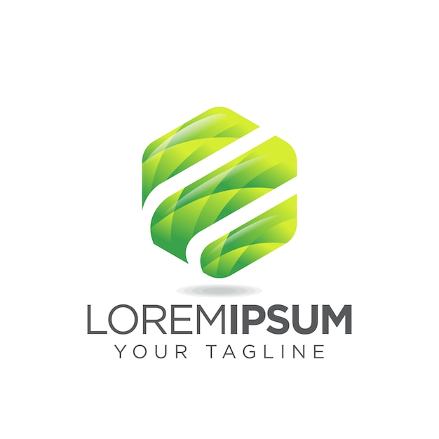Logo di lettera e di esagono di foglie Vettore Premium