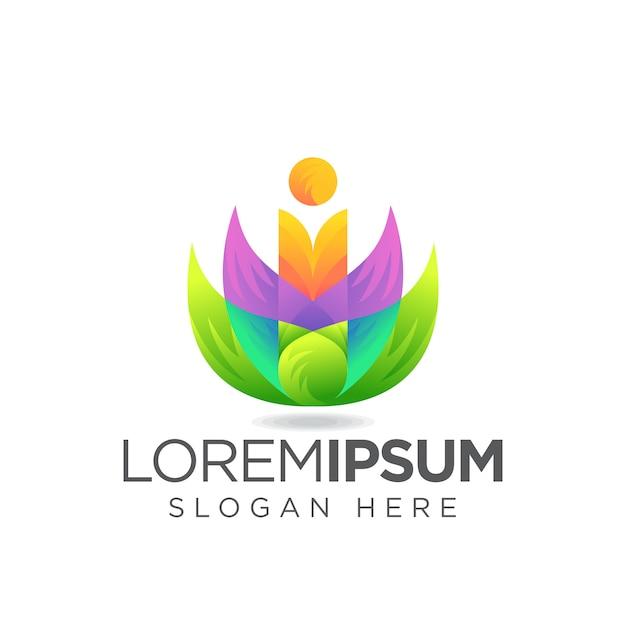 Logo di lettera i foglia Vettore Premium