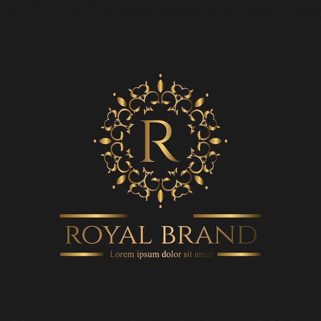 Logo di lusso con colore dorato Vettore Premium