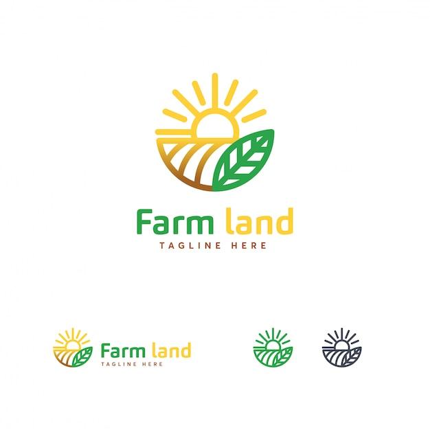 Logo di lusso farm land s, modello di logo di agricoltura Vettore Premium
