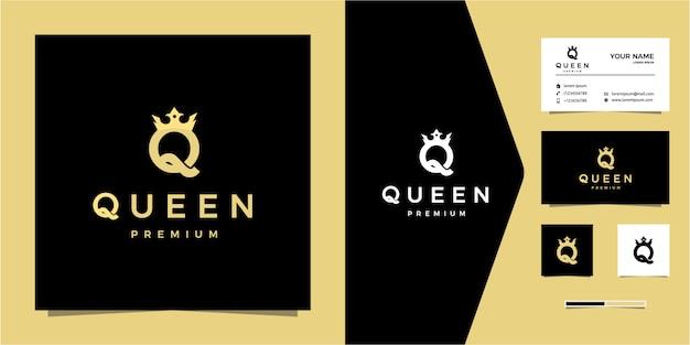 Logo di lusso lettera q o regina Vettore Premium