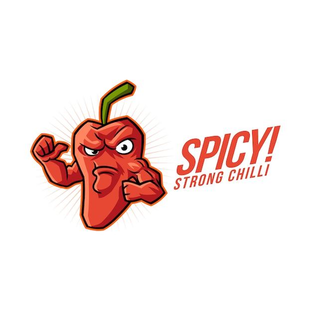 Logo di mascotte peperoncino piccante dei cartoni animati Vettore Premium
