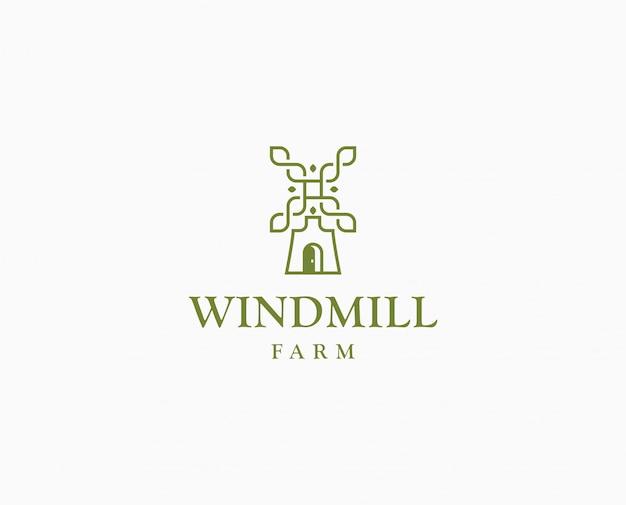 Logo di mulino di grano di agricoltura. modello di logo di fattoria wildmill Vettore Premium