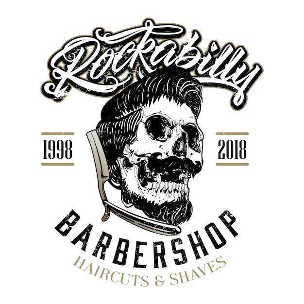 huge discount b50d6 00fb9 Logo di negozio di barbiere del rockabilly disegnato a mano ...