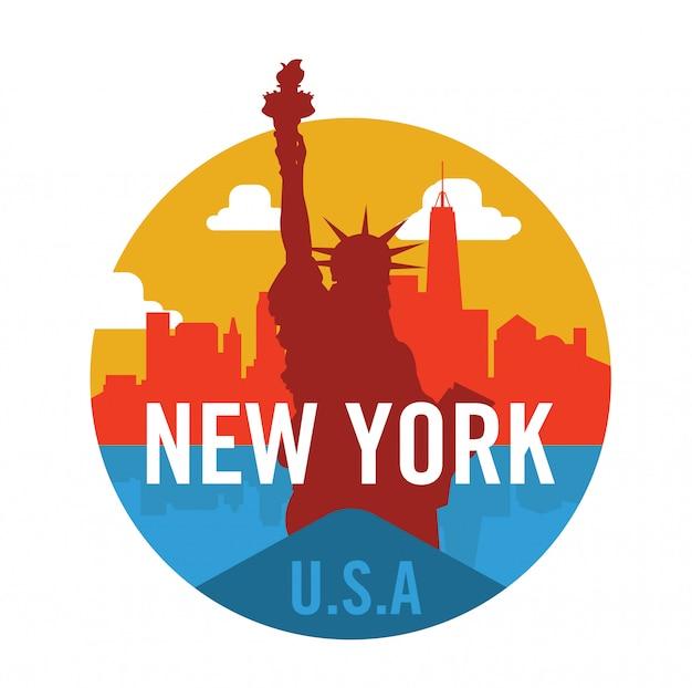 Logo di new york city con statua della libertà Vettore Premium