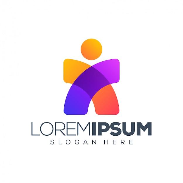 Logo di persone Vettore Premium